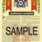 PEDERSEN - SCOTTISH - Armorial Name History - Coat of Arms - Family Crest GIFT! 8.5x11