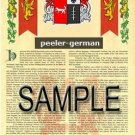 PEELER - GERMAN - Armorial Name History - Coat of Arms - Family Crest GIFT! 8.5x11