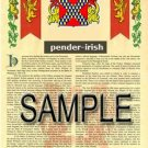 PENDER - IRISH - Armorial Name History - Coat of Arms - Family Crest GIFT! 8.5x11