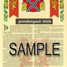 PENDERGAST - IRISH - Armorial Name History - Coat of Arms - Family Crest GIFT! 8.5x11
