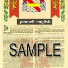 PENNELL - ENGLISH - Armorial Name History - Coat of Arms - Family Crest GIFT! 8.5x11