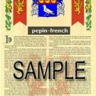 PEPIN - FRENCH - Armorial Name History - Coat of Arms - Family Crest GIFT! 8.5x11