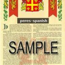 PERES - SPANISH - Armorial Name History - Coat of Arms - Family Crest GIFT! 8.5x11