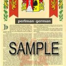 PERLMAN - GERMAN - Armorial Name History - Coat of Arms - Family Crest GIFT! 8.5x11