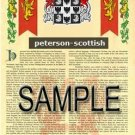 PETERSON - SCOTTISH - Armorial Name History - Coat of Arms - Family Crest GIFT! 8.5x11