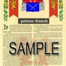 PETREE - FRENCH - Armorial Name History - Coat of Arms - Family Crest GIFT! 8.5x11