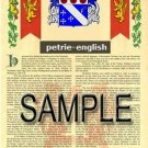 PETRIE - ENGLISH - Armorial Name History - Coat of Arms - Family Crest GIFT! 8.5x11