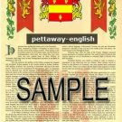 PETTAWAY - ENGLISH - Armorial Name History - Coat of Arms - Family Crest GIFT! 8.5x11