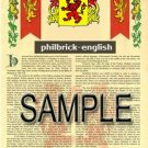 PHILBRICK - ENGLISH - Armorial Name History - Coat of Arms - Family Crest GIFT! 8.5x11