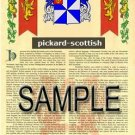 PICKARD - SCOTTISH - Armorial Name History - Coat of Arms - Family Crest GIFT! 8.5x11