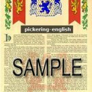 PICKERING - ENGLISH - Armorial Name History - Coat of Arms - Family Crest GIFT! 8.5x11
