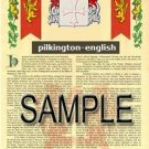 PILKINGTON - ENGLISH - Armorial Name History - Coat of Arms - Family Crest GIFT! 8.5x11