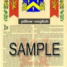 PILLOW - ENGLISH - Armorial Name History - Coat of Arms - Family Crest GIFT! 8.5x11