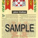PINO - ITALIAN - Armorial Name History - Coat of Arms - Family Crest GIFT! 8.5x11