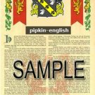 PIPKIN - ENGLISH - Armorial Name History - Coat of Arms - Family Crest GIFT! 8.5x11