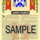 PIRTLE - ENGLISH - Armorial Name History - Coat of Arms - Family Crest GIFT! 8.5x11