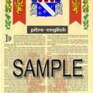 PITRE - ENGLISH - Armorial Name History - Coat of Arms - Family Crest GIFT! 8.5x11