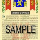 PLANK - GERMAN - Armorial Name History - Coat of Arms - Family Crest GIFT! 8.5x11
