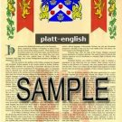 PLATT - ENGLISH - Armorial Name History - Coat of Arms - Family Crest GIFT! 8.5x11