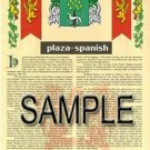 PLAZA - SPANISH - Armorial Name History - Coat of Arms - Family Crest GIFT! 8.5x11