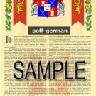 POFF - GERMAN - Armorial Name History - Coat of Arms - Family Crest GIFT! 8.5x11
