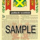 POLLACK - SCOTTISH - Armorial Name History - Coat of Arms - Family Crest GIFT! 8.5x11