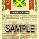 POLLAK - SCOTTISH - Armorial Name History - Coat of Arms - Family Crest GIFT! 8.5x11
