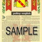 POLLEY - ENGLISH - Armorial Name History - Coat of Arms - Family Crest GIFT! 8.5x11