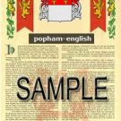 POPHAM - ENGLISH - Armorial Name History - Coat of Arms - Family Crest GIFT! 8.5x11