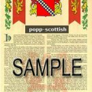 POPP - SCOTTISH - Armorial Name History - Coat of Arms - Family Crest GIFT! 8.5x11