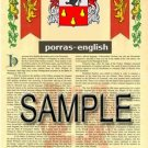 PORRAS - ENGLISH - Armorial Name History - Coat of Arms - Family Crest GIFT! 8.5x11
