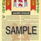 POULIN - FRENCH - Armorial Name History - Coat of Arms - Family Crest GIFT! 8.5x11