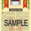 POWERS - IRISH - Armorial Name History - Coat of Arms - Family Crest GIFT! 8.5x11