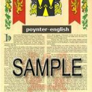 POYNTER - ENGLISH - Armorial Name History - Coat of Arms - Family Crest GIFT! 8.5x11