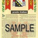 PRADO - ITALIAN - Armorial Name History - Coat of Arms - Family Crest GIFT! 8.5x11