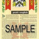 PRATT - ENGLISH - Armorial Name History - Coat of Arms - Family Crest GIFT! 8.5x11
