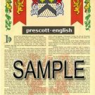 PRESCOTT - ENGLISH - Armorial Name History - Coat of Arms - Family Crest GIFT! 8.5x11