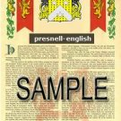 PRESNELL - ENGLISH - Armorial Name History - Coat of Arms - Family Crest GIFT! 8.5x11