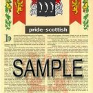 PRIDE - SCOTTISH - Armorial Name History - Coat of Arms - Family Crest GIFT! 8.5x11