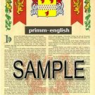 PRIMM - ENGLISH - Armorial Name History - Coat of Arms - Family Crest GIFT! 8.5x11