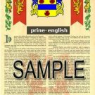 PRINE - ENGLISH - Armorial Name History - Coat of Arms - Family Crest GIFT! 8.5x11