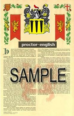 PROCTOR - ENGLISH - Armorial Name History - Coat of Arms - Family Crest GIFT! 8.5x11
