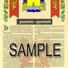 PUENTE - SPANISH - Armorial Name History - Coat of Arms - Family Crest GIFT! 8.5x11