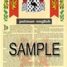 PUTMAN - ENGLISH - Armorial Name History - Coat of Arms - Family Crest GIFT! 8.5x11