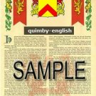 QUIMBY - ENGLISH - Armorial Name History - Coat of Arms - Family Crest GIFT! 8.5x11