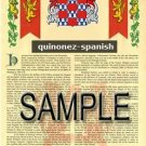 QUINONEZ - SPANISH - Armorial Name History - Coat of Arms - Family Crest GIFT! 8.5x11