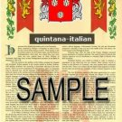 QUINTANA - ITALIAN - Armorial Name History - Coat of Arms - Family Crest GIFT! 8.5x11