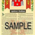 QUIROZ - ITALIAN - Armorial Name History - Coat of Arms - Family Crest GIFT! 8.5x11