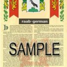 RAAB - GERMAN - Armorial Name History - Coat of Arms - Family Crest GIFT! 8.5x11
