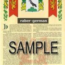 RABER - GERMAN - Armorial Name History - Coat of Arms - Family Crest GIFT! 8.5x11